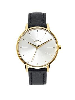 nixon-kensington-white-dial-gold-tone-case-black-leather-strap-ladies-watch