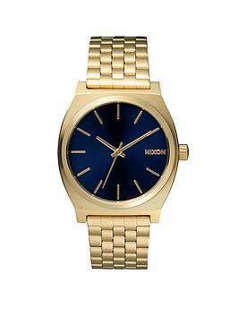 nixon-time-teller-blue-dial-gold-tone-bracelet-watch