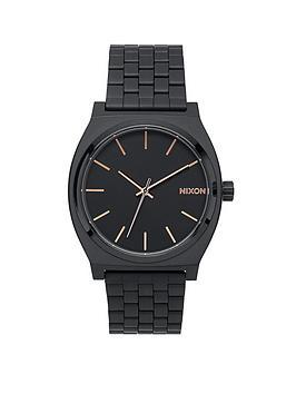 nixon-time-teller-black-dial-rose-accents-black-bracelet-watch