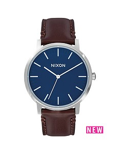nixon-porter-navy-dial-brown-leather-strap-mens-watch