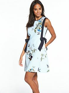 ted-baker-printed-a-line-side-bow-dress