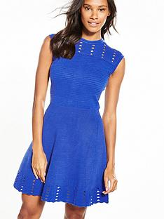 ted-baker-jacquard-panel-skater-dress-blue