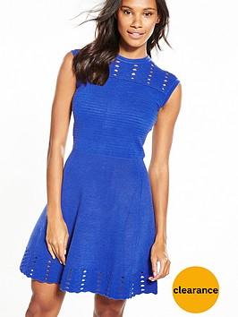 ted-baker-jacquard-panel-skater-dress-blue