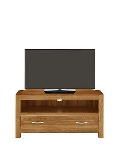 Luxe Collection - Suffolk 100% Solid Oak Ready Assembled Corner TV Unit - fits up to 42 Inch TV