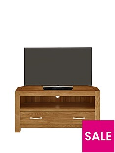 Luxe Collection - Suffolk 100% Solid Oak Ready Assembled Corner TV Unit - fits up to 46 Inch TV