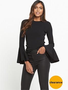 warehouse-fluted-sleeve-jumper-black