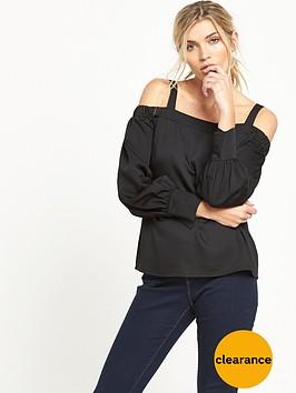 warehouse-cold-shoulder-top-black
