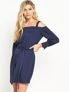 warehouse-strappy-bardot-dress-navy
