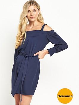 warehouse-strappy-bardot-dress-navy