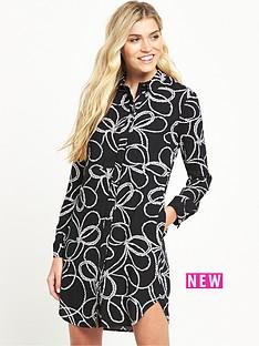 warehouse-rope-print-shirt-dress-black