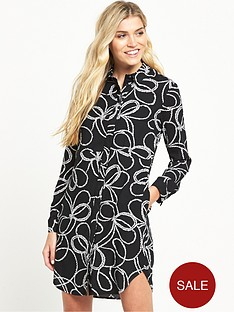 warehouse-rope-print-shirt-dress-black