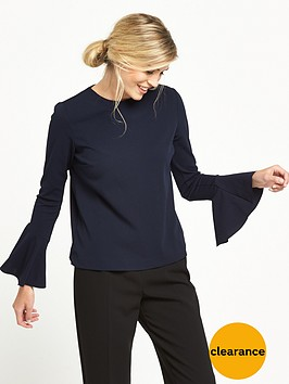 warehouse-flute-sleeve-top-navy