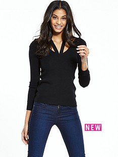 warehouse-cut-out-v-neck-jumper