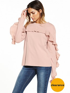 warehouse-frill-sweat-pink