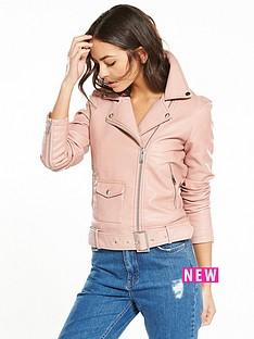 warehouse-faux-leather-crop-biker-jacket-pink