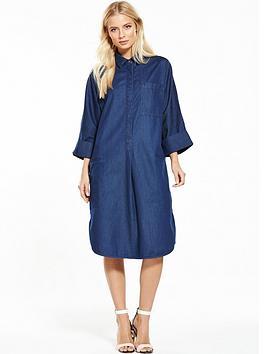 warehouse-denim-shirt-dress