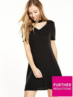 v-by-very-petite-petite-keyhole-knitted-dress-black