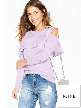 v-by-very-petite-petite-cold-shoulder-ruffle-jumper-lilac