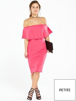 v-by-very-petite-petite-scuba-bardot-mini-dress-pink