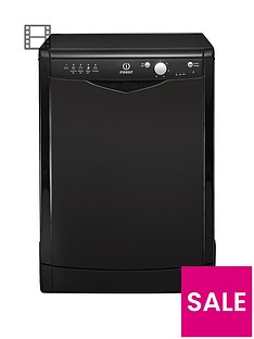 Indesit DFG15B1K 12-Place Full Size Dishwasher with Quick Wash - Black