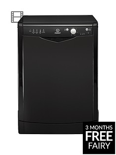 Indesit DFG15B1K 12-Place Full Size Dishwasher with Quick Wash - Black