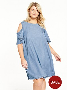 v-by-very-curve-cold-shoulder-chambray-swing-dress-bluenbsp