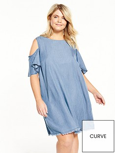 v-by-very-curve-cold-shoulder-chambray-swing-dress