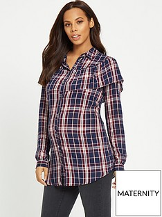 rochelle-humes-maternity-check-shirt