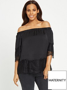 rochelle-humes-lace-trim-bardot-top