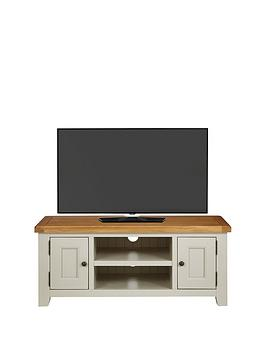 Product photograph showing Luxe Collection Oakland Painted 100 Solid Wood Ready Assembled Large Tv Unit - Fits Up To 55 Inch Tv