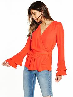 v-by-very-pleat-sleeve-wrap-blouse