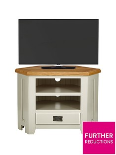 Luxe Collection - Oakland Painted 100% Solid Wood Ready Assembled Corner TV Unit - fits up to 40 Inch TV