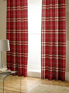 catherine-lansfield-kelso-check-pleated-curtains-in-red