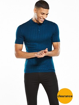 river-island-knitted-muscle-fit-ribbed-po