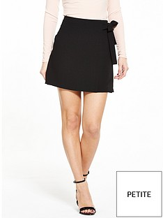 v-by-very-petite-petite-tie-detail-skirt-black