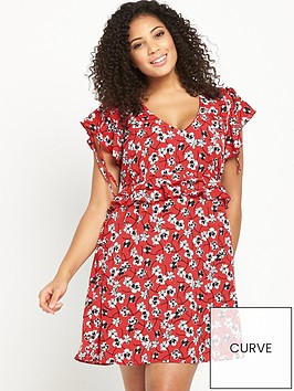 v-by-very-curve-curve-flute-sleeve-printed-tea-dress