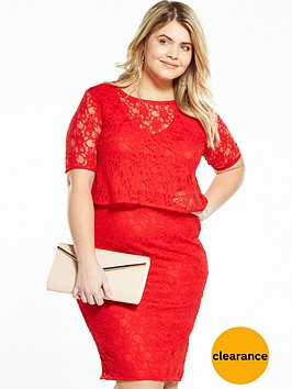 v-by-very-curve-double-layer-lace-midi-dress-red