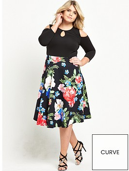 v-by-very-curve-cold-shoulder-printed-skirt-scuba-skater