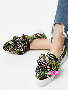 river-island-river-island-bow-detail-printed-plimsoll