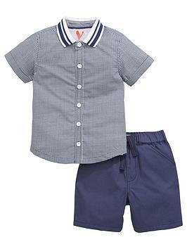 mini-v-by-very-boys-grid-print-shirt-and-shorts