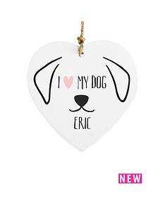 personalised-i-love-my-dog-wooden-hanging-heart
