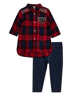 river-island-mini-girls-tartan-shirt-and-jeggings-set