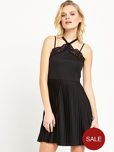 river-island-plisse-mini-dress-black