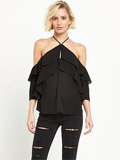river-island-cold-shoulder-frill-top-black