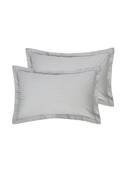 Hotel Collection  Luxury 300 Thread Count Soft Touch Sateen Stripe Oxford Pillowcase Pair