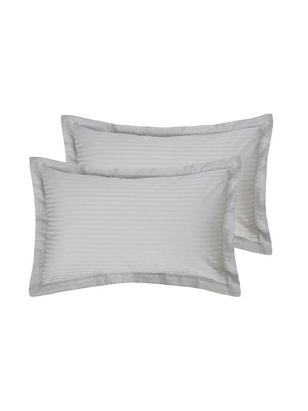 2 X Pillow Case Luxury Sateen Stripe Housewife Pair Pack Pillows Cover 300 T