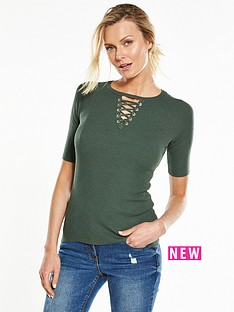 v-by-very-lace-up-half-sleeve-jumper