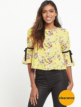 miss-selfridge-print-tie-sleeve-top