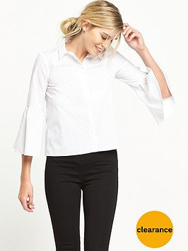 miss-selfridge-poplin-flute-sleeve-shirt