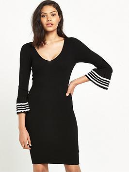 miss-selfridge-v-neck-pleat-sleeve-dress